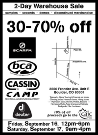 Outdoor  gear warehouse sale in boulder, colorado