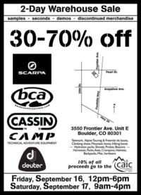 Outdoor  gear warehouse sale in boulder, colorado