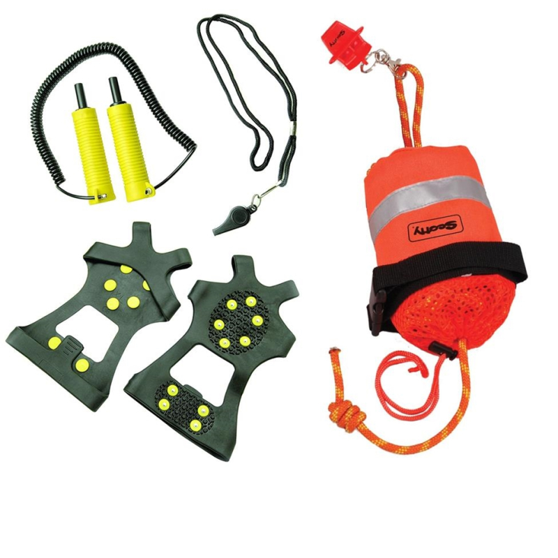 Gearflogger reviews the Frabill ice safety kit and Scotty throw bag