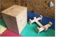 Gearflogger DIY plyometric box from a half sheet of plywood and a 2x4